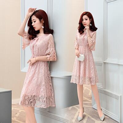 连衣裙夏装2018新款女气质收腰减龄清新遮肚子蕾丝裙