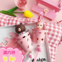 可爱少女心迷你粉色桌面水桶收纳笔筒软萌桌面收纳盒卧室储物整理
