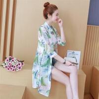 中长款防晒衣服女夏季新款韩版百搭大码雪纺开衫印花薄款外套披肩