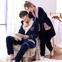 情侣珊瑚绒睡衣秋冬季长袖加厚法兰绒男女系带家居服浴袍睡袍