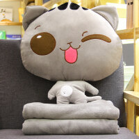 卡通猫咪汽车抱枕被子两用 办公室午睡枕头毯子珊瑚绒空调被靠垫