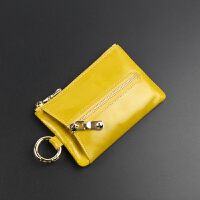 卡包零钱多功能真皮钥匙包女士迷你大容量韩国可爱软小锁匙扣 柠檬黄 实物偏深