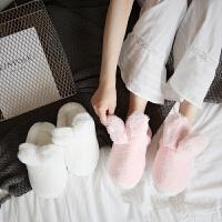 棉拖鞋女冬季可爱兔子室内居家用厚底保暖半包跟防滑毛毛拖鞋月子