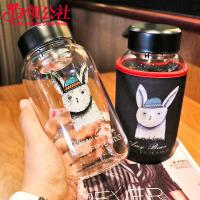 白领公社 玻璃杯 韩版时尚潮超大容量600ml喝水杯子可爱萌男女学生家用办公运动户外水瓶便携式泡茶水杯水具