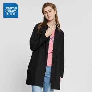 真维斯女装 2018春装中长款全棉罗纹领外套潮