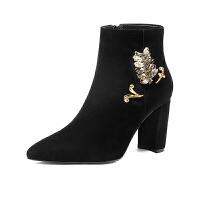 秋冬2018新款黑色磨砂真皮靴子水钻时尚高跟尖头鞋欧美粗跟短靴女 黑色 38