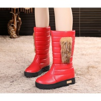 简约甜美中筒靴2018秋冬季女学生上班加绒保暖棉鞋马丁平底雪地靴 红色 2081加棉