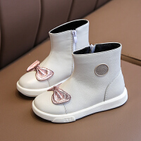 【活动价:126】真皮女童靴子公主短靴2019新款冬季韩版儿童皮靴宝宝冬靴保暖童鞋