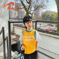 【品牌钜惠:65】贵人鸟男童夏装套装帅气2020年新款夏季中童运动儿童夏天两件套