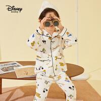 【春新品4折�A估�r:87元】迪士尼童�b男童�r尚睡衣套�b2021春秋�和�������家居服�杉�套