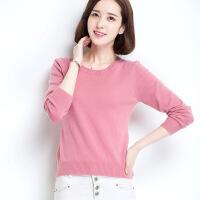 秋冬新款低圆领纯羊毛衫女套头修身短款纯色韩版打底针织衫