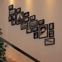 客厅实木现代梯形照片墙 楼梯走廊相片墙 梯形相框墙组合欧式简约背景墙实木相框照片墙