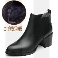 2018秋冬新款高跟女短靴真皮粗跟尖头马丁靴英伦百搭切尔西靴加绒SN5382 黑色 加绒、保暖