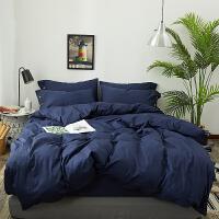 夏季纯棉四件套全棉简约素色床单被套2.2x2.4m床上三件套纯色床笠 藏青色 颜色编号a