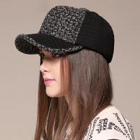 针织棒球帽秋冬季男女情侣款保暖韩版简约时尚格子保暖帽