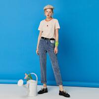 初语史努比高腰牛仔裤女年新款夏薄款显瘦刺绣直筒九分牛仔裤