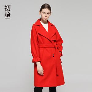 初语红色大衣女中长款2018秋装新款西装领直筒束腰修身毛呢外套