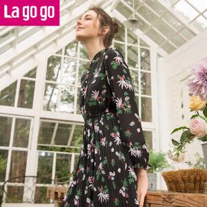 【清仓3折价137.7】Lagogo/拉谷谷2019年春季新款时尚小立领长袖连衣裙HALL401C25