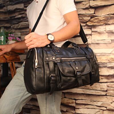 真皮短途旅行包男女手提大容量健身包韩版单肩行李包出差男士商务 黑色 S-1127 大 发货周期:一般在付款后2-90天左右发货,具体发货时间请以与客服协商的时间为准