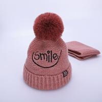 儿童帽子冬季1-6岁2加绒护耳宝宝毛线帽男童女童帽子围巾两件套装 皮粉色 BK套帽 均码