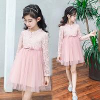 连衣裙新款春装儿童裙子洋气长袖公主网纱裙女孩蕾丝裙