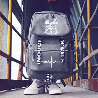 韩版双肩包男初高中生书包时尚潮流大学生电脑帆布背包休闲旅行包 133优雅灰 大