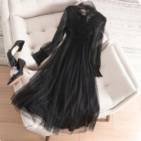 大码女装春装新款胖mm遮肚连衣裙胖妹妹洋气时尚减龄显瘦两件套装 黑色