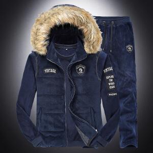 加绒卫衣连帽马甲加绒休闲裤三件套男士秋冬户外运动加厚保暖3件套