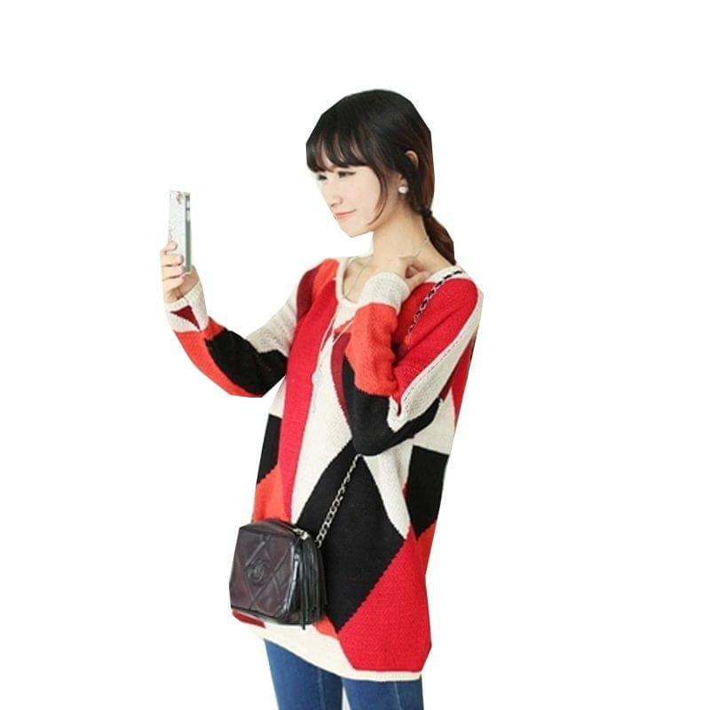 慈颜孕妇秋装韩版宽松中长款时尚针织衫撞色套头毛衣YJE1212