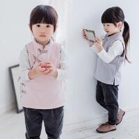 女童民族风花边马甲18春秋装新款童装儿童宝宝手工盘扣毛绒背心