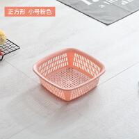 方形镂空洗菜篮厨房洗菜筐水果篮子蔬果沥水篮塑料滴水筛收纳篮 301正方形小号 粉色