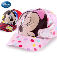 迪士尼儿童帽子春秋男童鸭舌帽潮女童宝宝遮阳帽太阳帽薄款棒球帽