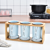 日式陶瓷筷子筒筷子收纳盒沥水创意 防霉 家用筷架子筷子笼筷子桶