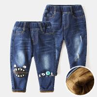 2儿童牛仔裤加绒加厚3宝宝弹性棉裤4冬装新款童装男童裤子长裤5岁
