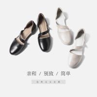 青婉田2018春季新款浅口鞋女平底真皮日系女鞋文艺包跟一字带单鞋