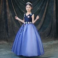 公主裙女童礼服花童婚纱晚礼服新款儿童钢琴表演节目主持人连衣裙0427 蓝色