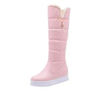 韩版2018冬季女孩高筒靴保暖加厚白色棉靴大童公主毛毛靴长靴童鞋真皮