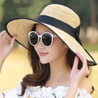 海边防晒拉菲草帽可折叠沙滩帽海滩度假旅游太阳帽女大沿遮阳帽