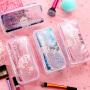 小学生笔袋女简约ins日系大容量文具盒初中生透明液体笔袋