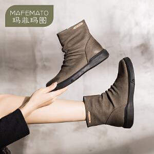 玛菲玛图2018新款春 单靴百搭学生平底裸靴英伦风短靴女复古褶皱马丁靴女530-10