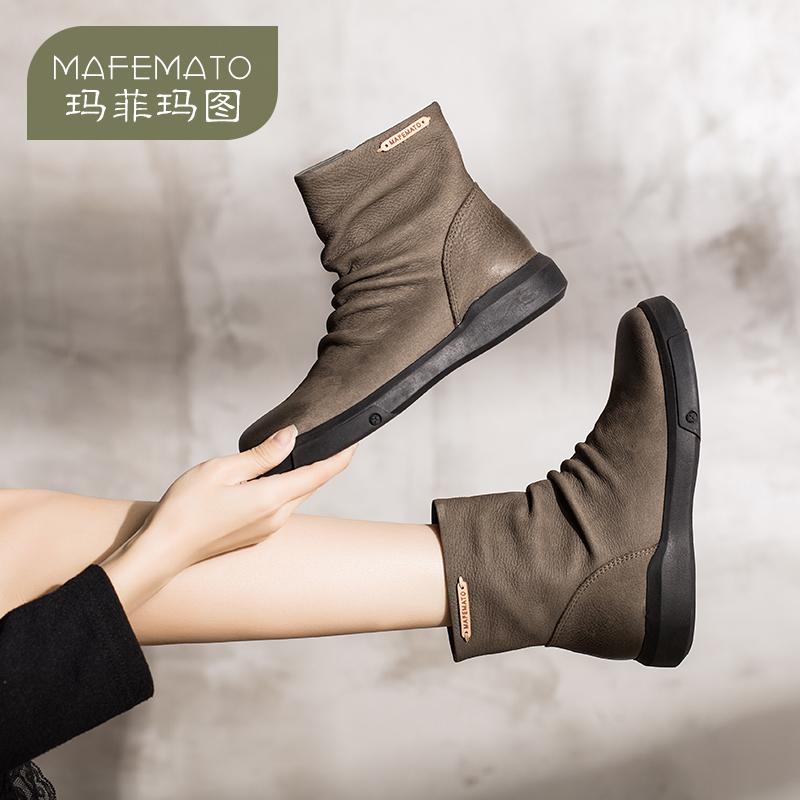 玛菲玛图2018新款春单靴百搭学生平底裸靴英伦风短靴女复古褶皱马丁靴女M1981530T10原创设计女鞋,晒图有红包。