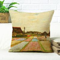 0720011224997美式梵高抱枕被子两用靠枕油画向日葵星空杏花棉麻沙发靠垫