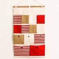门后衣柜收纳电表箱后挂袋布艺墙上悬挂式收纳袋挂袋墙挂式置物袋 玫红色 13兜红拼接 中号