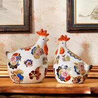 创意客厅装饰品家居摆设鸡摆件陶瓷工艺品生肖鸡年吉祥物金鸡
