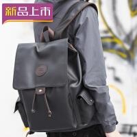 2018双肩包男中学生书包女皮质时尚大学生背包电脑包休闲短途旅行背包