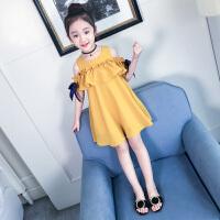 夏装新款连衣裙韩版时髦儿童装裙子中大童洋气露肩公主裙