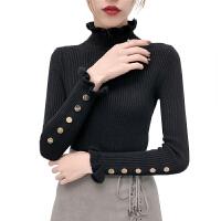 2018秋冬新款韩版修身加厚半高领木耳边长袖毛衣女内搭针织打底衫