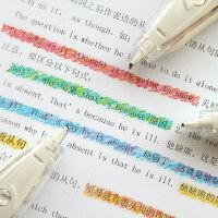 日本普乐士PLUS学生用创意可爱小清新装饰带日记手账蜡笔水彩文字荧光修饰带DIY划重点标记彩色花边修正带