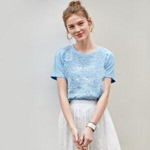 【到手价62.9元】Amii极简洋气原宿风T恤女2019夏季新款拼接欧货重工蕾丝印花上衣