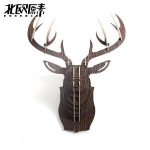 幸阁 环保木制北欧原素鹿头像 北欧ins亲子创意复古 动物墙壁挂饰木制摆件